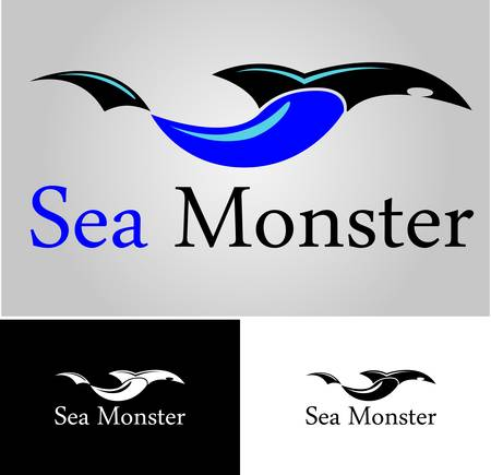 shark and sea wave logo template with black white version
