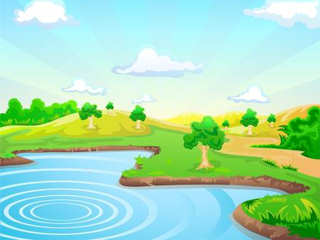 natural landscape background with lake Vector