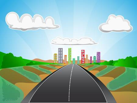 highway street with city scape background Illustration