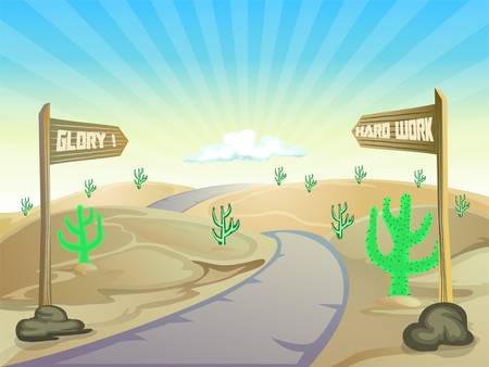 road on the desert with text board Vector