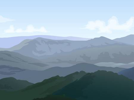 hills landscape with cloudy sky background Illustration