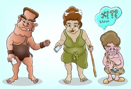 Edad de Piedra: de la familia prehist�rica y la tecnolog�a moderna Vectores