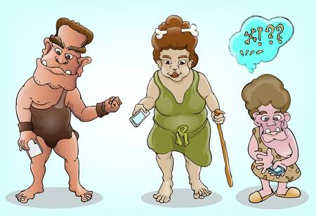 stone age: prehistoric family and modern technology Illustration
