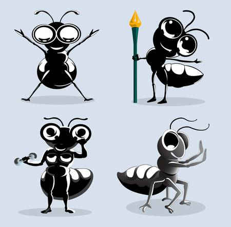 four ants cartoon in various action isolated on blue Stock Vector - 14410060