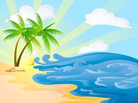 playa caricatura: playa con cocoteros en d�a soleado Vectores