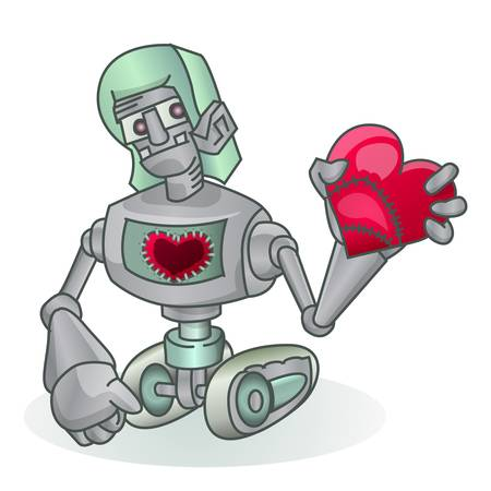cute robot holding love icon isolated on white Stock Vector - 14593554