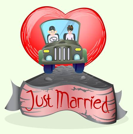 just married couple driving a car Illustration