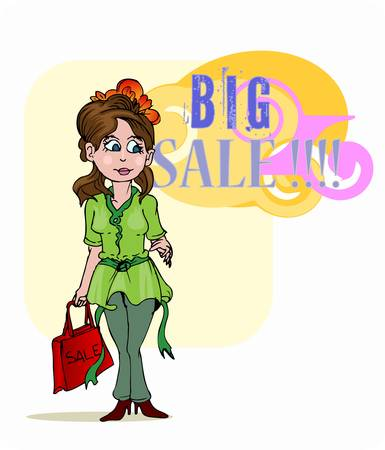 young girl standing holding bag on big sale event Vector