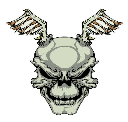 skull with wings isolated on white Vector