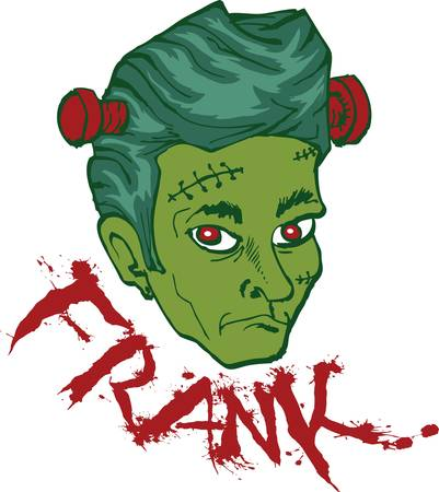 frankenstein head isolated on white Vector