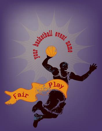 basketball design template with man jumping holding basket ball, and ribbon on blue background