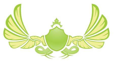 green shield with elegant wings isolated on white Vector