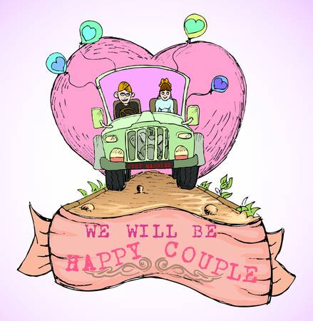 just married couple driving open cup car with love icon behind them in hand draw style