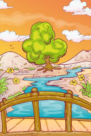 dry land: hand draw illustration of autumn landscape with single tree and bridge over the river