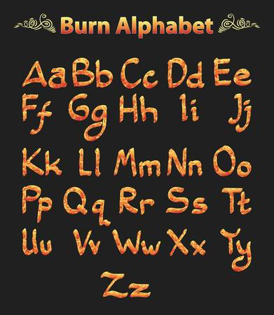 burn alphabet on black Stock Vector - 15456567