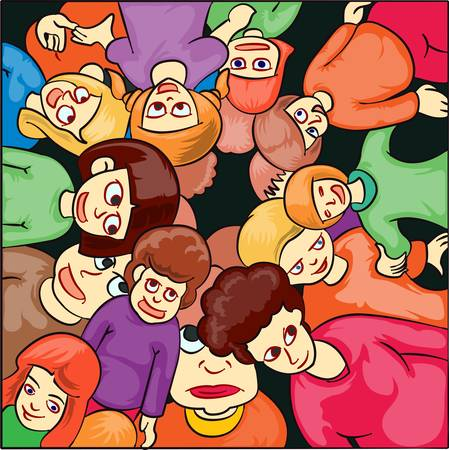 illustration of group of children isolated on dark color Vector