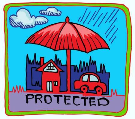 property insurance: auto y seguro de hogar drenaje de la mano s�mbolo Vectores