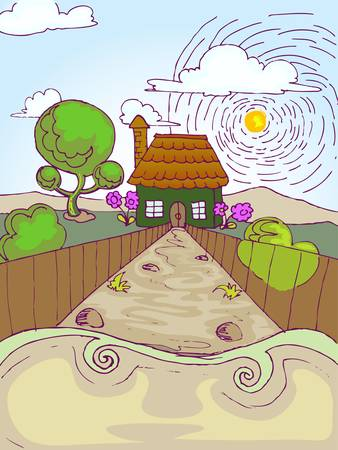 hand draw illustration of little house in summer day