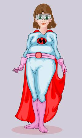 young pregnant mother with super hero costume Illustration