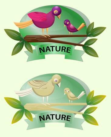 two bird on branch with nature text Stock Vector - 15701789