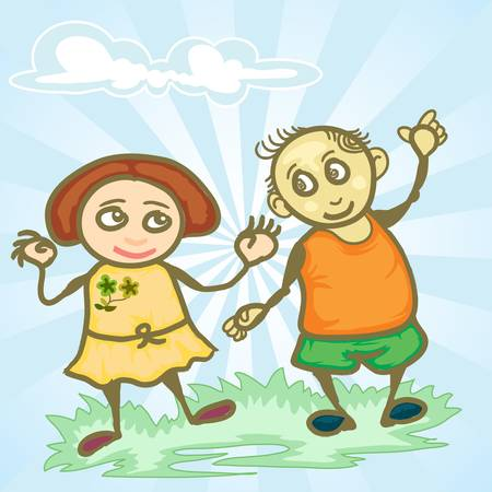 couple children in happy expression