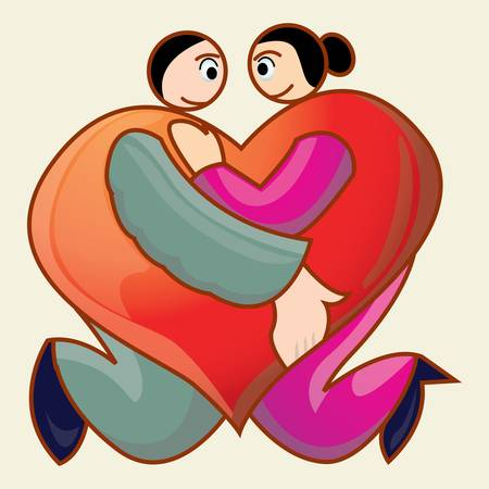 couple holding each other made love icon shape Illustration