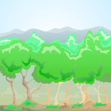 forest with smoke and mountains background