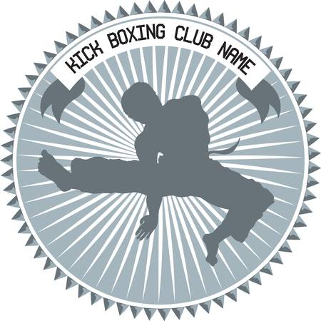 illustration for kickboxing club emblem Vector