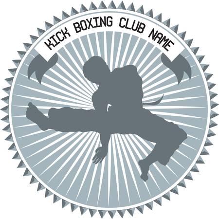 combat sport: illustration for kickboxing club emblem