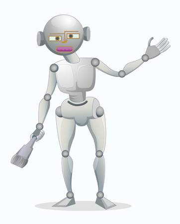 single robot holding brush isolated on white Stock Vector - 17339803