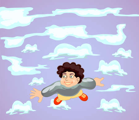 happy boy flying with clods background Stock Photo