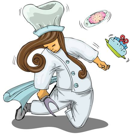 chef with bread holding cooking knife Vector