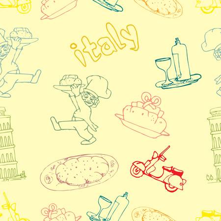 icon of italia seamless pattern Vector