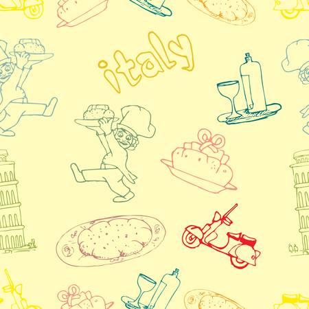 italia: icon of italia seamless pattern Illustration