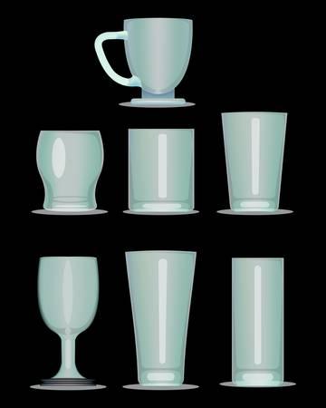 breakable: set of glass isolated