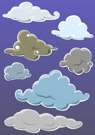 set of cloud hand draw isolated on blue Stock Vector - 19372562