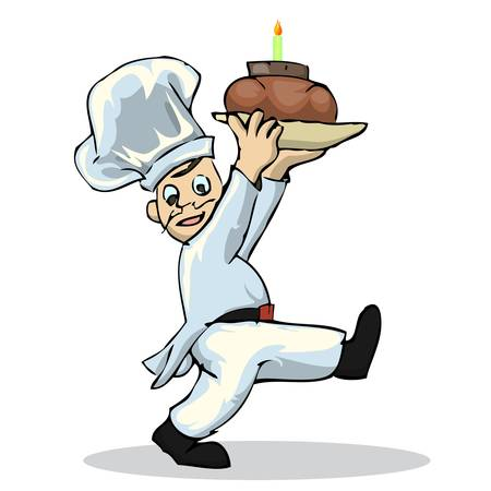 chinesse: chef holding cake