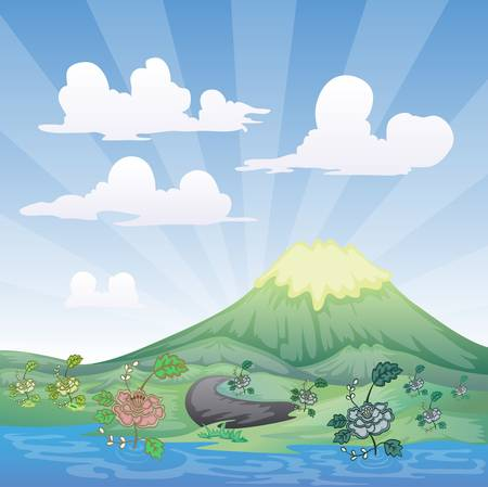 illustration of landscape with river foreground Stock Vector - 20931447