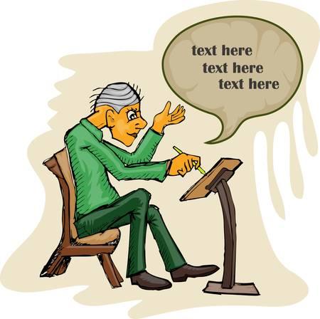 vieil homme assis: vieux conf�rence mince assis et donner pr�sentation Illustration