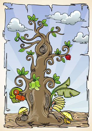 Hand draw ornamental tree with various fruits