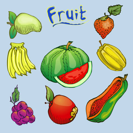 fruit hand draw