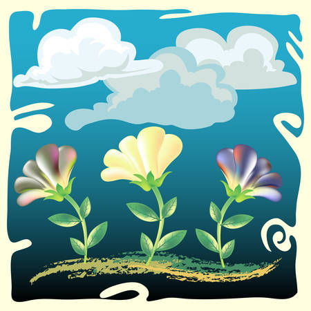 flower under cloudy sky Illustration