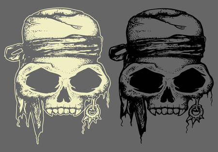 Set of Pirate skull hand draw illustration iaolated in dark and bright color