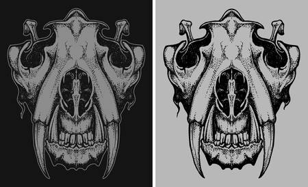 Tiger head skull vector hand draw illustration in dark and bright backgeound