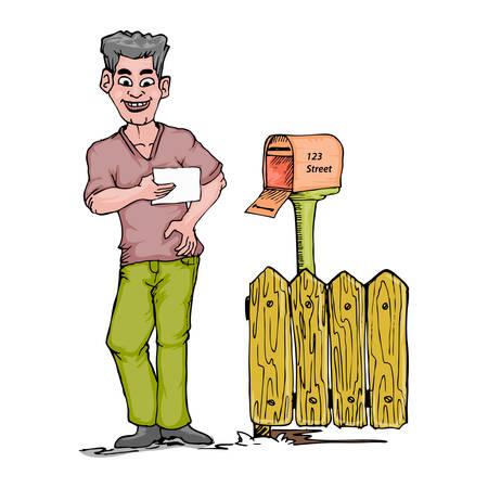 jeunes joyeux: Happy young man holding letter near a let box cartoon hand draw illustration Illustration