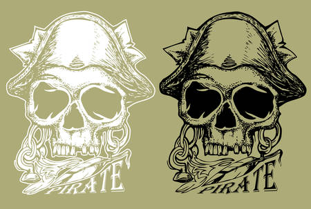 pirate skull hand draw illustration in dark and bright color Illustration