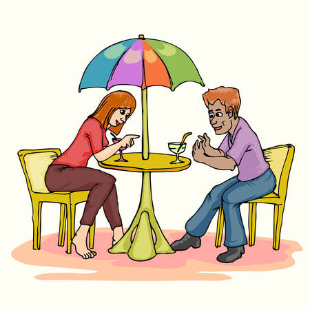 Amante de la pareja en la fecha bajo el paraguas mesa bebiendo y hablando Foto de archivo - 45728377