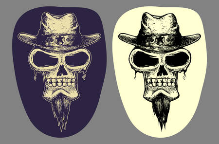 set of grunge skull hand draw illustration isolated