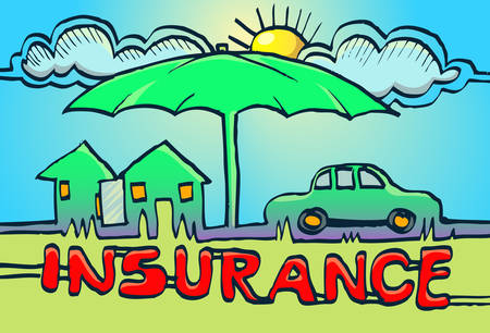 umbrella protecting house and car under cloud and sun as insurance symbol