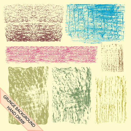 set of grunge textures made by pencil scratch Illustration